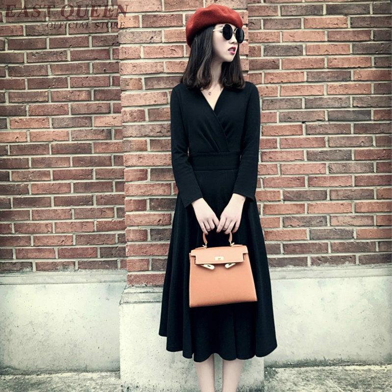 cou V Dd356 Chandail Robe Mode Tunique Longues À 1 F Manches Robes Sexy Solide Femelle Élégant Coton Automne Moulante Femmes qpxwfSnOx7
