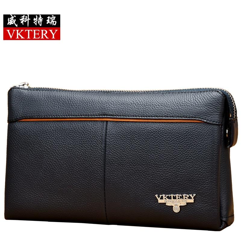 VKTERY Brand Men Luxury Genuine Cow Leather Clutch Bag Casual Business Big Capacity Cowhide Wallet Bolsas Male 2016 New