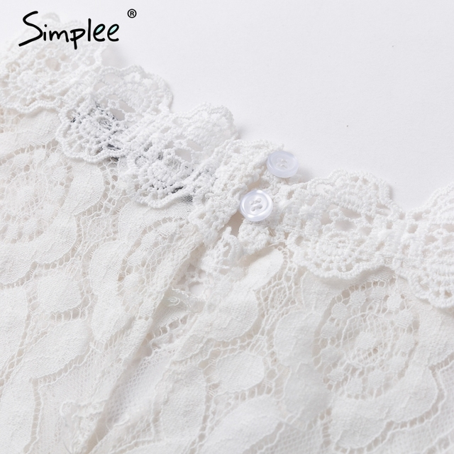Simplee Elegant white lace blouse shirt Sexy hollow out embroidery feminine blouse Women long lantern sleeve summer tops female 6