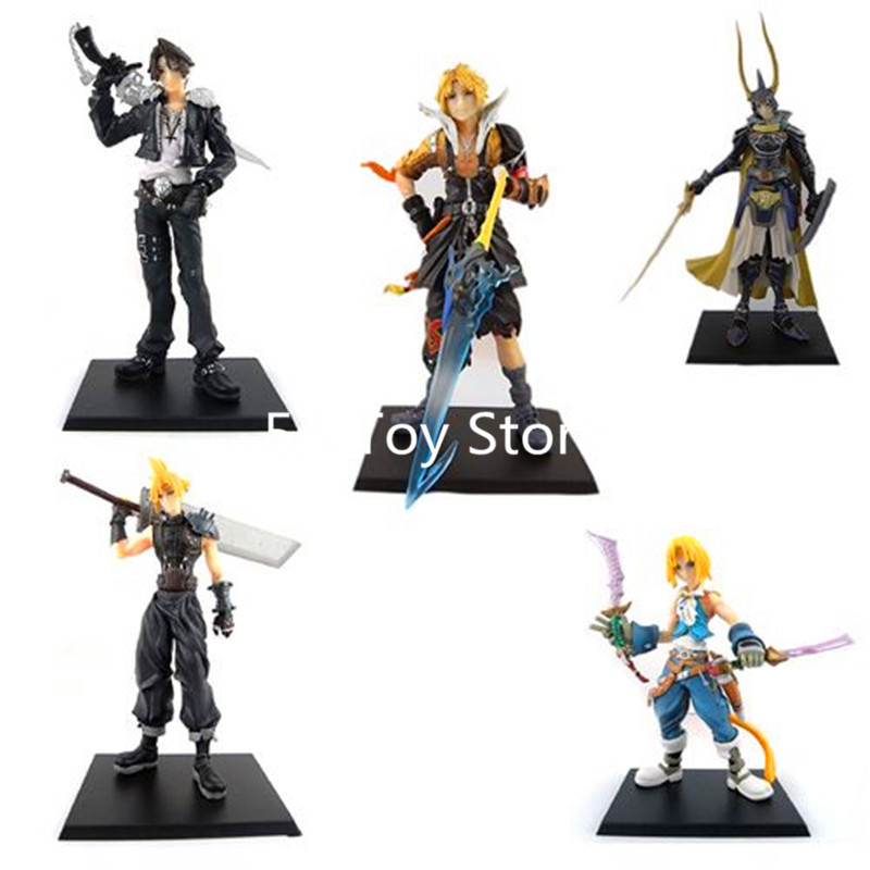 5pcs/set Final Fantasy Cloud Strife Squall Leonhart Tidus Warrior of Light Zack Fair PVC Figures Collectible Model Toys