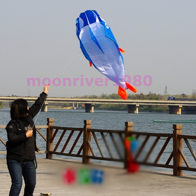 Hot 3D Blue Huge Frameless Soft Parafoil Giant Dolphin Kite With 100' line Easy Fly