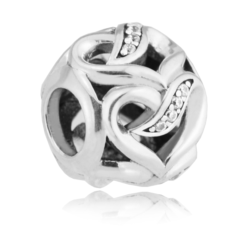 FL502.1 Ribbons of Love Beads Fits Pandora Charms Bracelets Beads For Jewelry Making 925 Sterling Silver 2017 Valentine\'s Day Beads  (1)
