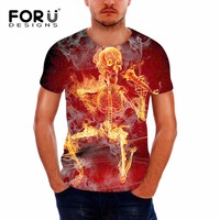 FORUDESIGNS Man Clothes 3D Blood Skull Pattern T Shirt For Male Summer Elastic Breathable Top Tee