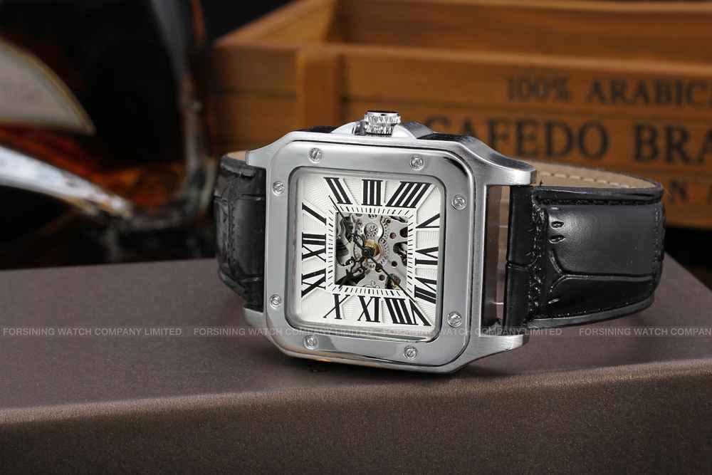 Uhren Geschenkbox Mechanische Uhren Kreativ T-winner Männer Klassische Automatische Mechanische Armbanduhr Lederband Römischen Anzahl Hollow Zifferblatt Quadrat Fall Einzigartiges Design
