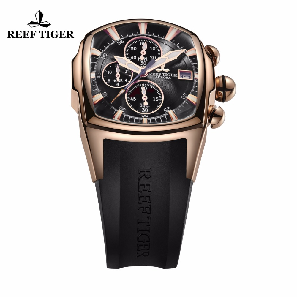 Image 2 - Reef Tiger/RT 2019 Luxury Waterproof Sport Watches Date Rose Gold Rubber Strap Military Mens Watches Relogio Masculino RGA3069 T-in Quartz Watches from Watches