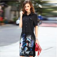Spring And Summer Lady Women Clothing Short Sleeve Bandage Bodycon Printed 100 Real Silk Shirt Dresses