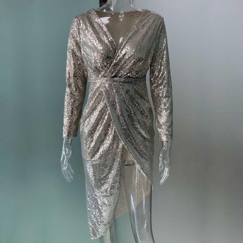d0956a72b3 VIEUNSTA 2XL Sexy V-neck High Slit Party Dress Women Glitter Sequined  Bodycon Dress Autumn Long Sleeve Midi Tunic Dress Vestidos