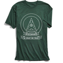 Summer T-shirt Men Funny Simple Style T Shirt In Crust We Trust Letter Pizza Tshirt Illuminati Vintage Green Top Tee 100% Cotton цена и фото