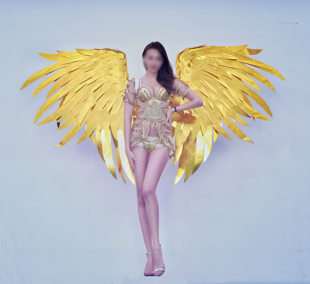 New adults luxury gold angel wings cosplay party stage show new adults luxury gold angel wings cosplay party stage show displays shooting props pure handmade ems thecheapjerseys Images