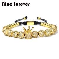 1pcs New Design women fashion CZ Imperial Crown Bracelets gold color Micro Pave CZ Women Braiding Macrame Bracelet men jewelry