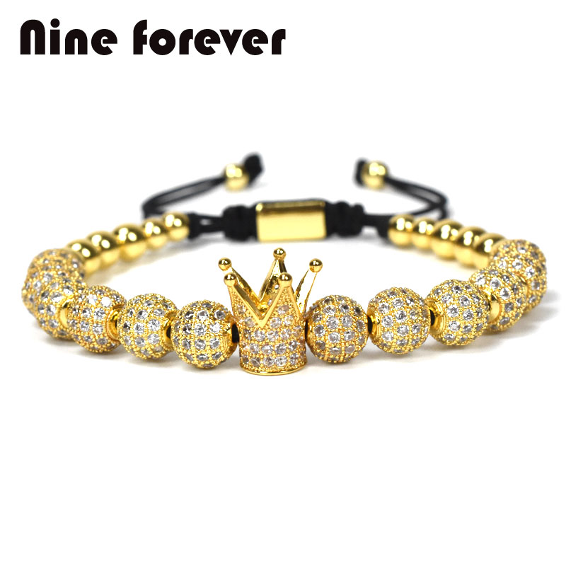 1pcs New Design women fashion CZ Imperial Crown Bracelet with 8mm gold-color Micro Pave CZ Women Braiding Macrame Bracelet