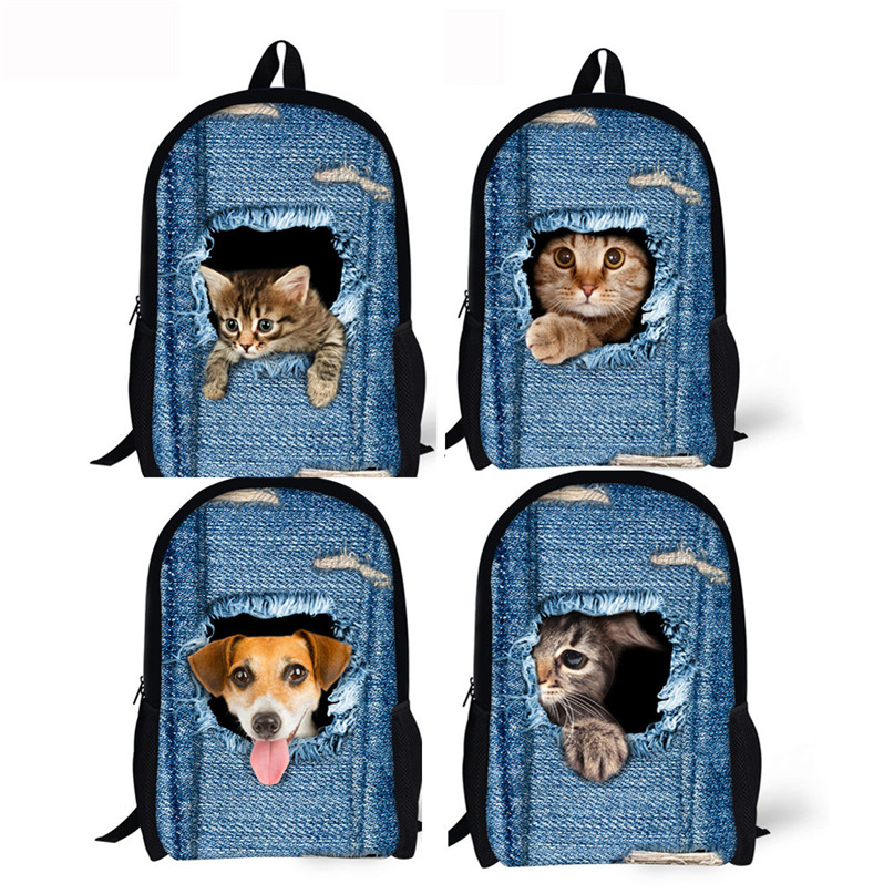3D Animal Print Cat Dog Backpack Student School College Shoulder Bags drop shipping 0804