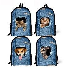 3D животных печати кошка собака рюкзак школьные колледж плечо Сумки Прямая поставка 0804