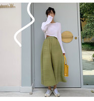 Originally designed MIYAKE thin avocado summer pleated pant Seven point wide leg pants free shipping