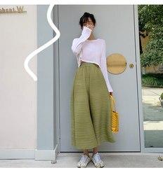 Originariamente progettato MIYAKE sottile avocado estate a pieghe pantaloni Sette-point wide-gamba dei pantaloni di trasporto libero