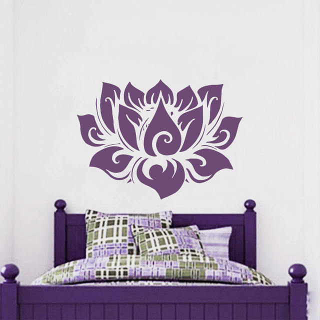 Lotus Flower Wall Stickers Vinyl Namaste Home Decor Bohemian Yoga Studio Decal Interior Bedroom Window