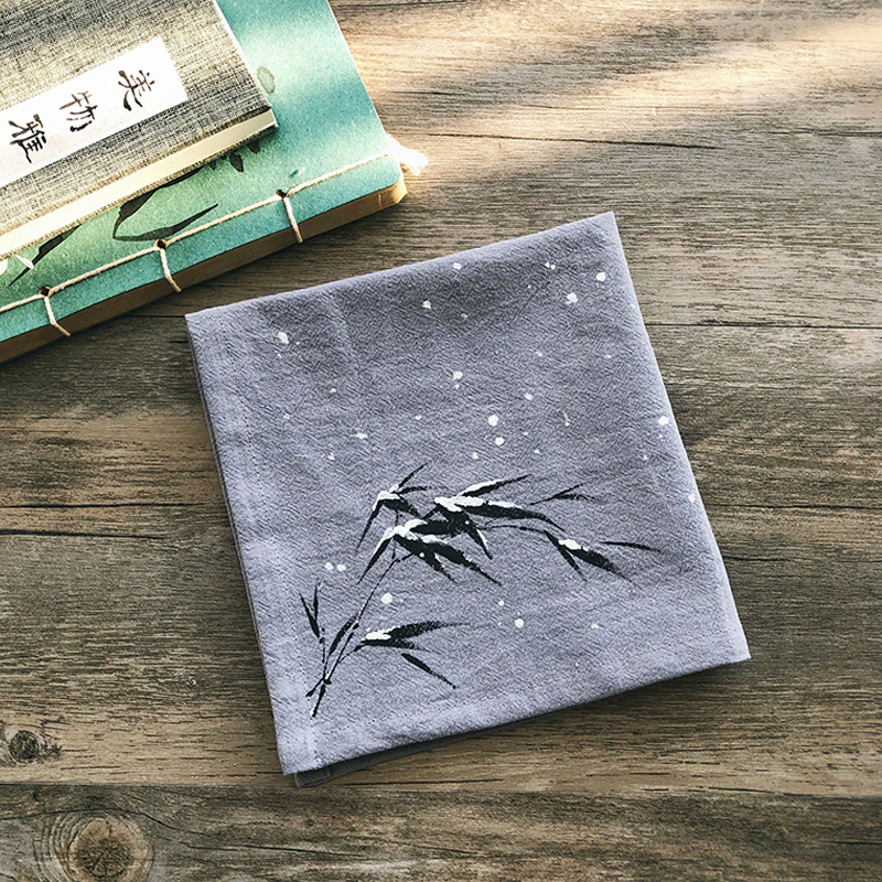 Chinese Style Fashion Handkerchief Men Cotton Hand-painted Antique Handkerchief Cotton Sweat-absorbent Small Pocket Square Gift