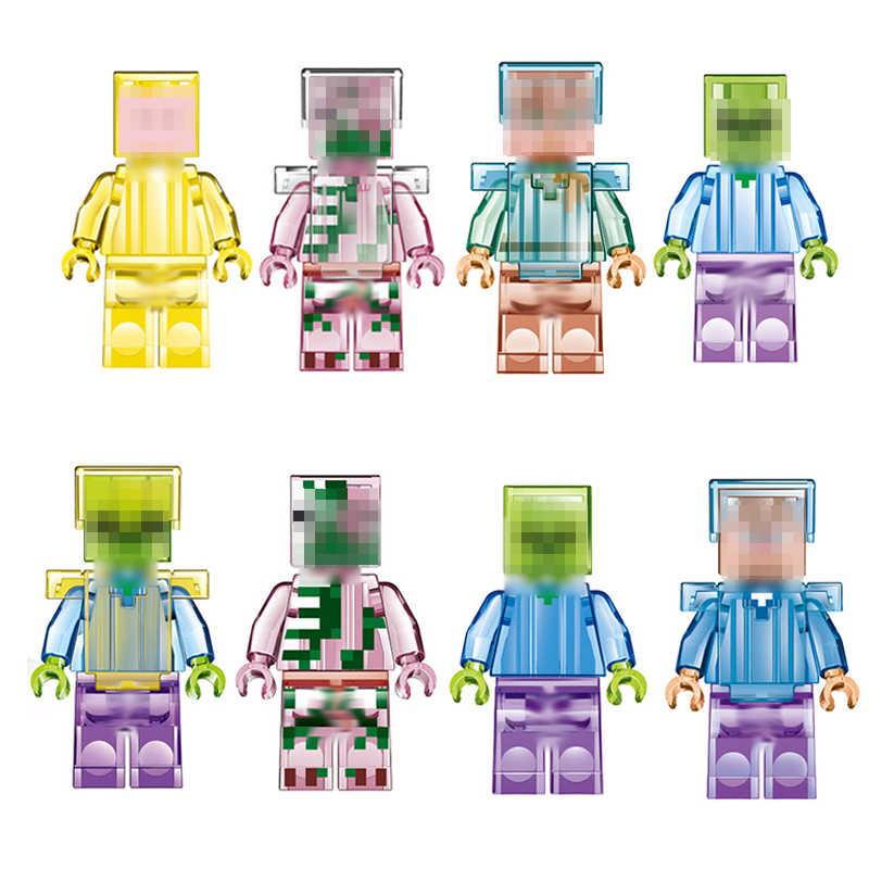 O meu Mundo 16 Pcs Minecraft Steve Zombie Figuras de Ação Com Arma de Cristal Esqueleto Compatível Building Block Brinquedos Para As Crianças