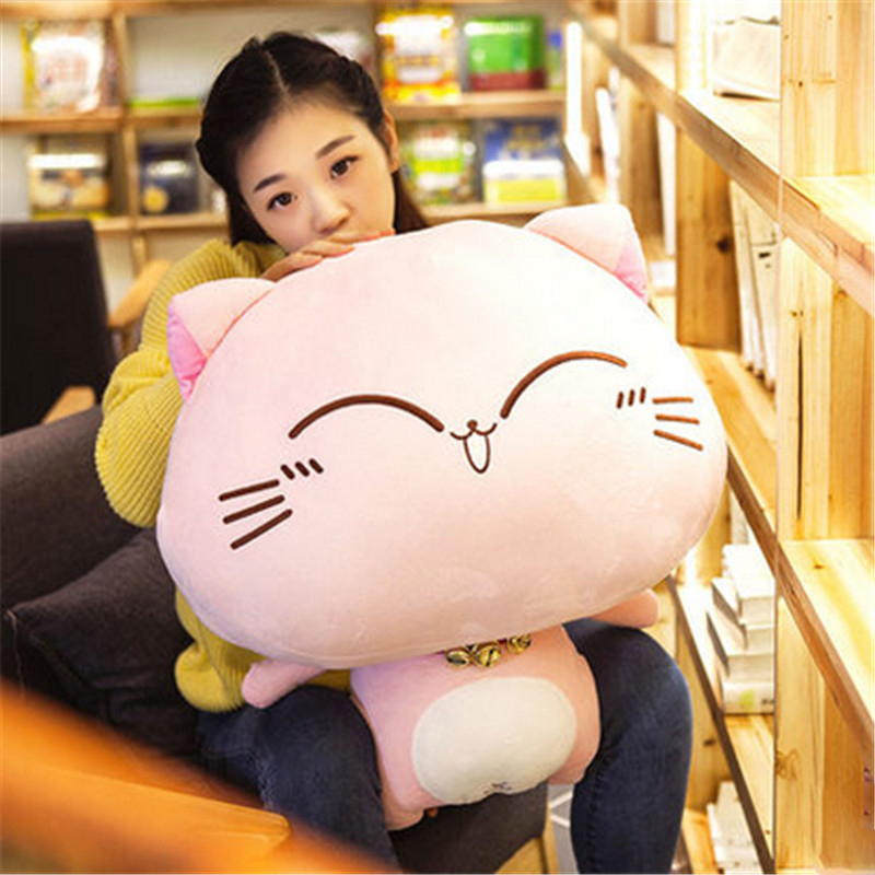Fancytrader Giant Stuffed Plush Cat Animals Toys Big Soft Cats with Bells Doll 70cm 28inch  Present for Kids fancytrader anime kawaii cat plush toy big giant stuffed animals cats doll pillow gifts for children 80cm