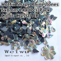 High Quality Hot Fix Rhinestones Shiny Stones Flatback Crystal AB Shapes Rhinestone 5 8mm 1440Pcs Wholesales