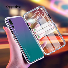 Oppselve Luxury Magnetic Adsorption Phone Case For Huawei P20 Pro Lite Mate 20 Metal Magnet Tempered Glass Flip Cover