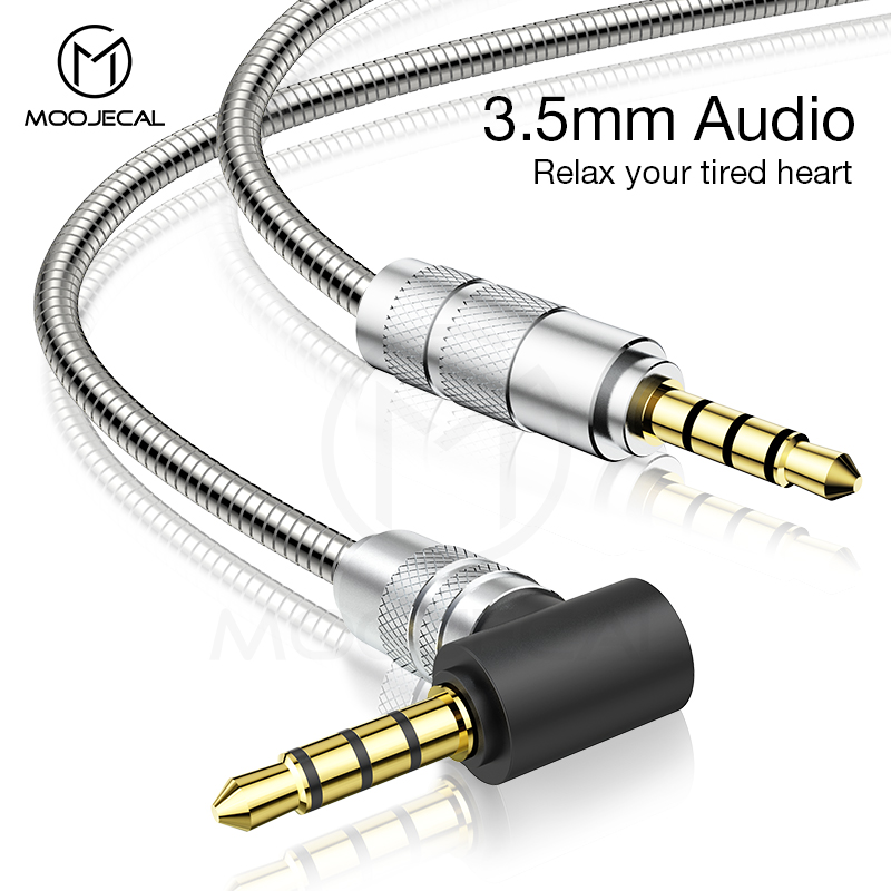MOOJECAL 3.5mm Jack Audio Cable Jack Male To Male Metal Audio Aux Cable For Samsung S10 Car Headphone Speaker Wire Line Aux Cord
