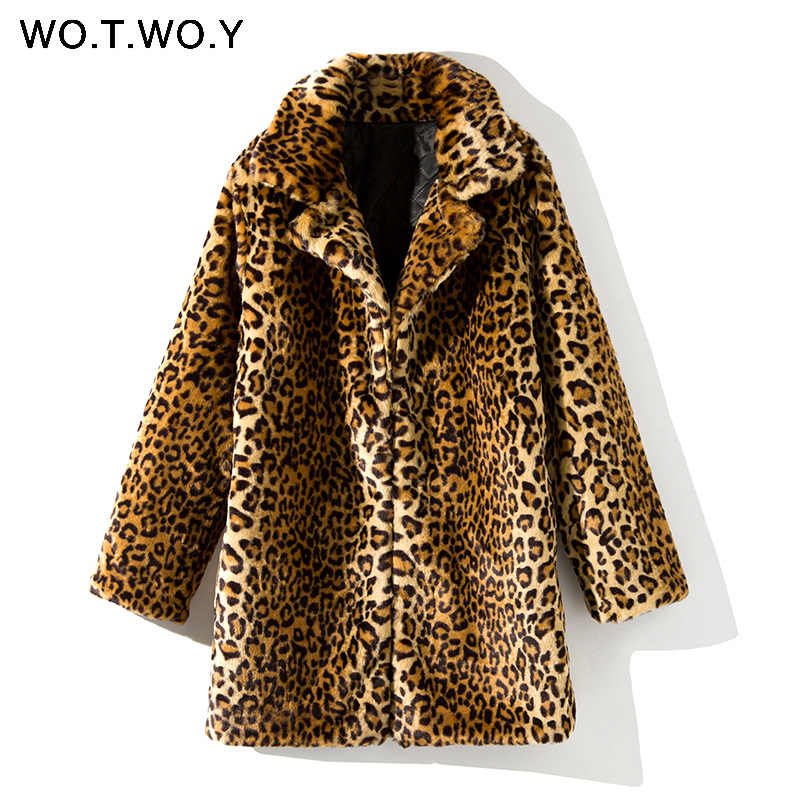 WOTWOY Thicken Leopard Women Jacket Mid-Long Faux Fur Coat Women Slim Casual Luipaard Fur Jackets Female Harajuku 2020