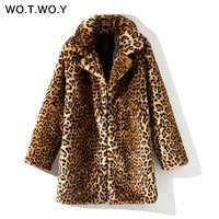 WOTWOY Thicken Leopard Women Jacket Mid-Long Faux Fur Coat Women Slim Casual Luipaard Fur Jackets Female Harajuku 2018