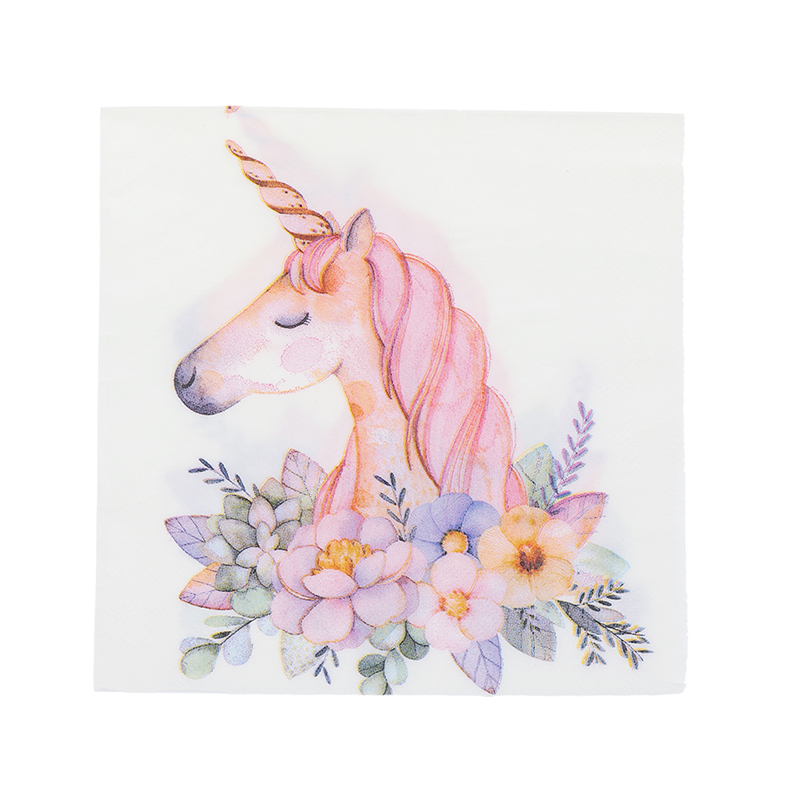 20Pcs/Pack Unicorn Theme Paper Napkins Food Tissue Tissue Napkins Wedding Decoration Birthday Party Festival Supplies 33x33cm