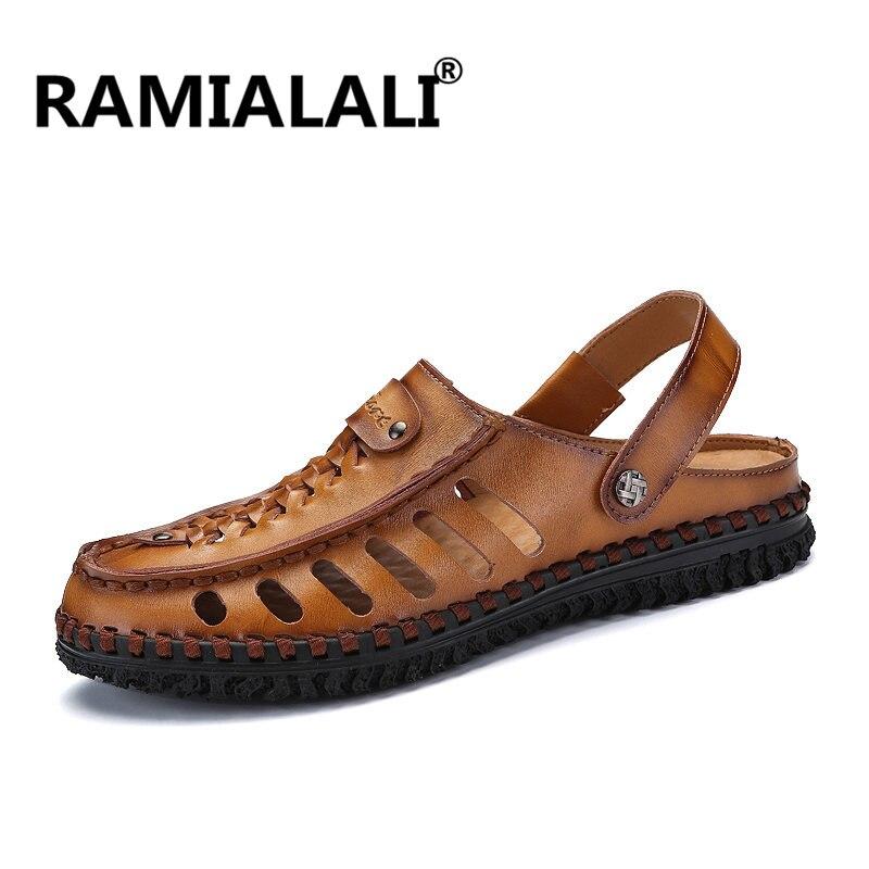 800ebd38e Ramialali New Fashion Summer Men Sandals 2018 Leisure Beach Men Shoes High  Quality Genuine Leather Sandals The Men s Sandals