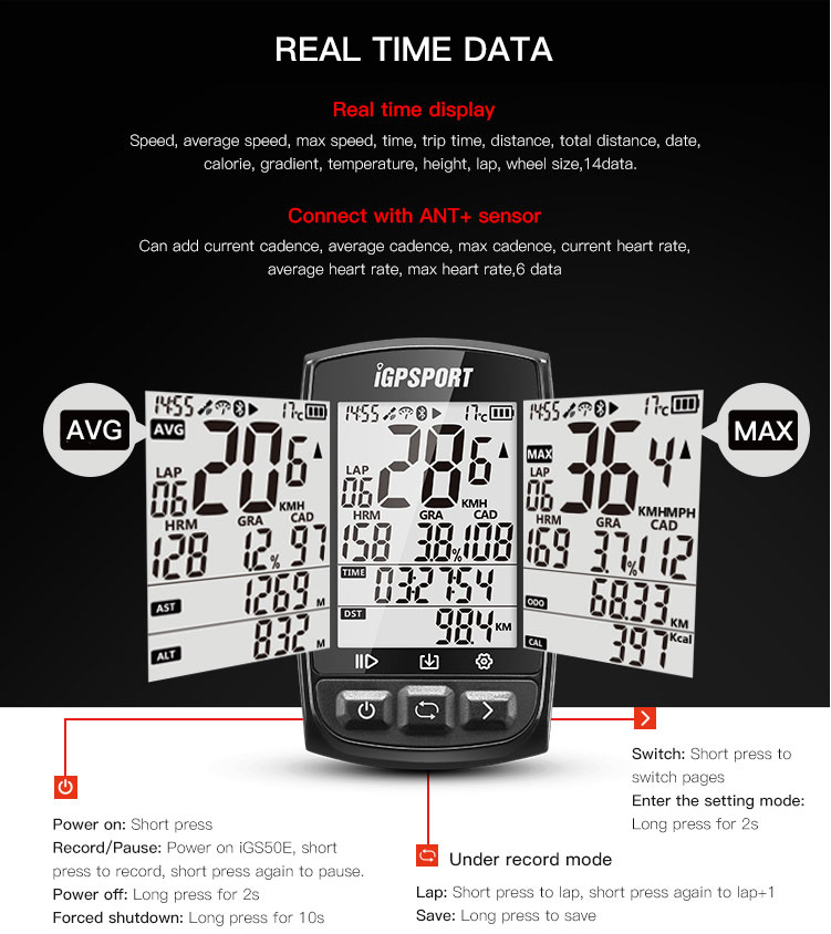 igS50 iGPSPORT Start the fastest 5S positioning wireless odometer iGS50E bike odometer 200 hours data storage