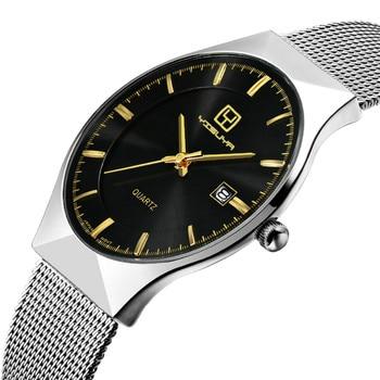 Yisuay高級ブランド男性腕時計超薄型ステンレススチールメッシュクォーツ腕時計男性カレンダービジネス腕時計2017