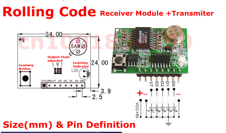 US $15 75 25% OFF RF Rolling Code Decoding Receiver Module + 2 Transmitters  DC 5V 4CH TTL Output Learning Momentary Toggle Latched RX TX 315/433-in