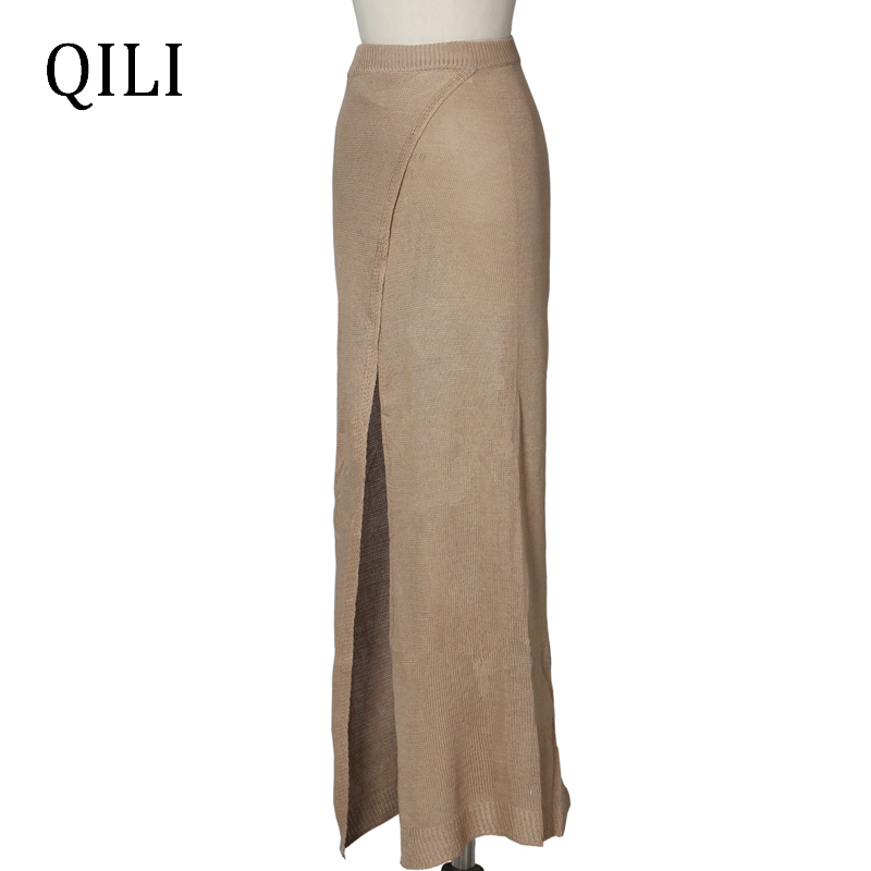 QILI Women Casual Beach Skirt Thin Style Knitting Cotton High Split Sexy Long Skirt Solid Floor Length Skirts For Womens in Skirts from Women 39 s Clothing