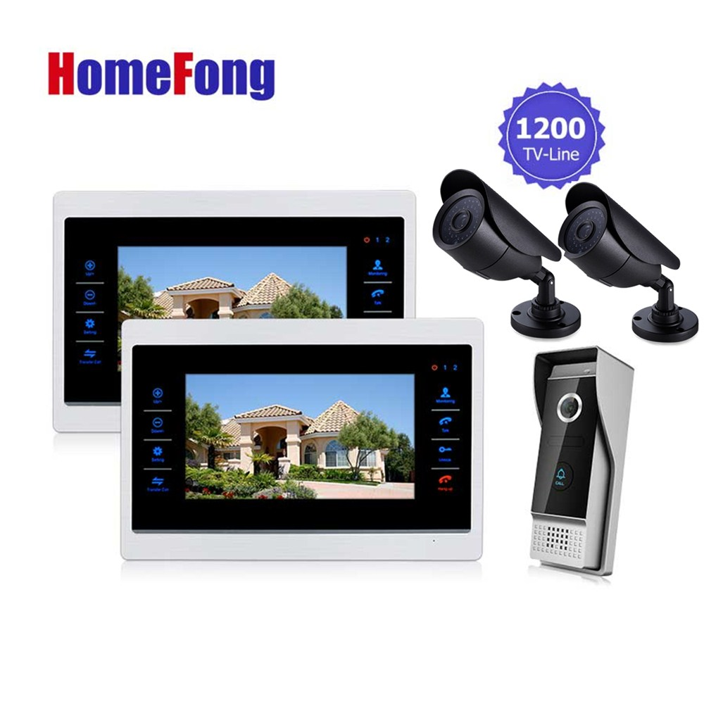 Homefong  D Video Door Phone Intercom Doorbell System with Camera  3.7MM Lens Security  1200TVL 2V1V2  Home Apartment Entry Kit homefong 7 tft lcd hd door bell with camera home security monitor wire video door phone doorbell intercom system 1200 tvl
