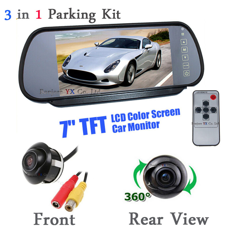 Hot sale HD 7 Inch Car Rearview Monitor Parking LCD Screen Display With Auto 170 Degree Rear View Backup Camera + front Camera 4 way input 7 inch tft lcd screen car monitor rear view display for rearview reverse backup camera car tv display for truck