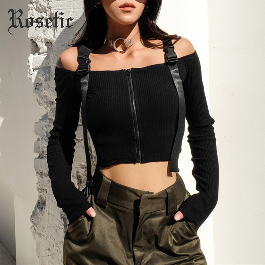 Rosetic Gothic Tops Sexy Slash Neck High Street Women T-shirt Slim Backless Patchwork Zipper Girl Top Popular Black T-shirts