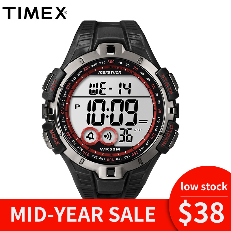 2018 For Timex Original Marathon Series Quartz Mens Watch T5k423 Sport Outdoor Indiglo Luminous Multi-function Resin Watches timex timex t5k423