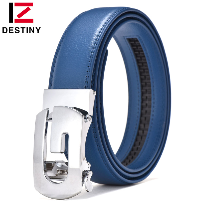 DESTINY Designer Belts Men High Quality Silver Gold G Belt Male Genuine Leather Strap Luxury Famous Brand Wedding Jeans Blue Cow