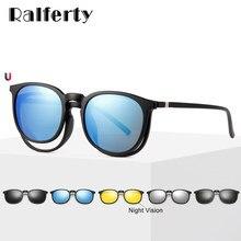 e0f428b822 Raliferty 5 en 1 Multi-Clip Ultra-Light TR90 Clip magnético polarizado en  gafas de sol para mujer gafas redondas gafas de sol de.