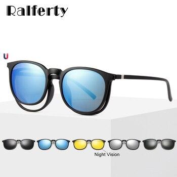 Sol Hombres gt; 1 De Ralferty En Ultraligera A8805gt; Polarizadas Tr90 Clip Gafas Mujeres Redondas Prescripción Vidrio Magnéticas 5 Igf67yvmYb