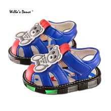 High-quality Baby Boys Sandals 2017 Summer Leather Led Glowing Shoes Soft Soles Toddler Boys Sandals for Infant Shoes
