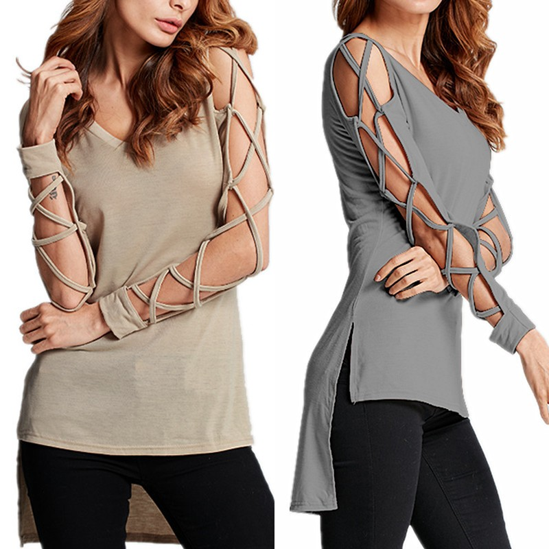 High Quality 2018 Fall Autumn Long Sleeve Hollow Out V-neck Women Top Blouse Women's Clothing