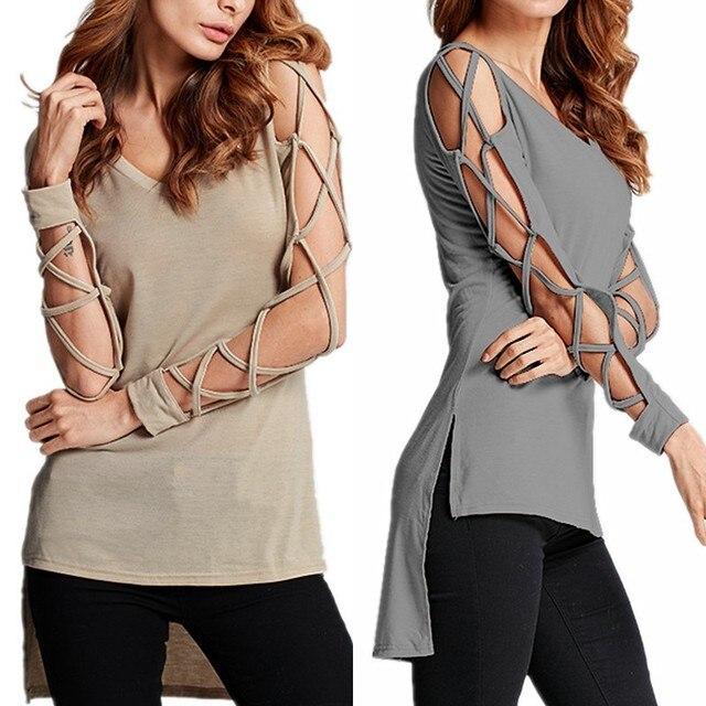 7de96b8a73a Plus Size Women Blouse Sexy Bandage Hollow Out Long Sleeve Shirt 2018 Summer  Autumn V Neck