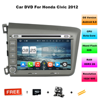 8 Inch Android 6 0 1 CAR DVD Player FOR NEW HONDA CIVIC 2012 For Left