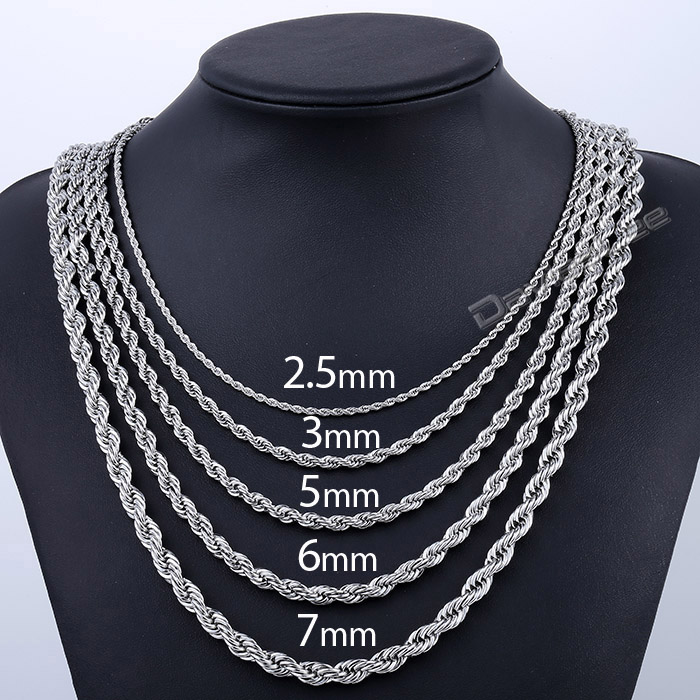 Davieslee Rope Link Chain Stainless Steel Necklace s