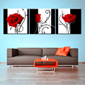 New wall pictures for bedroom living room art canvas oil modern painting flower home decoration decor 3 piece Rose (No Frames)