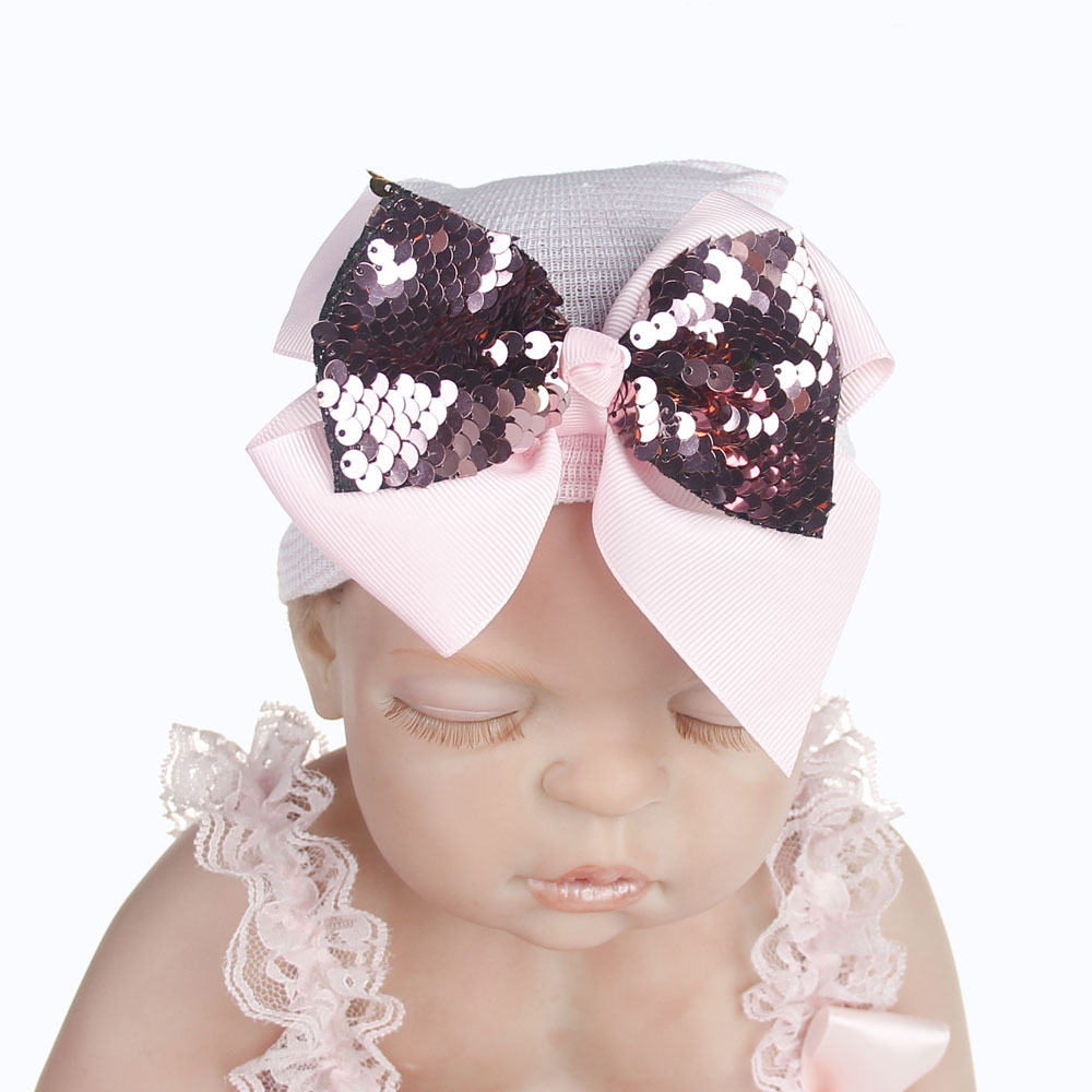 2018 Hospital Newborn Hat baby tire hat sequined bow striped knit hat baby Christmas gifts autumn and winter beanies