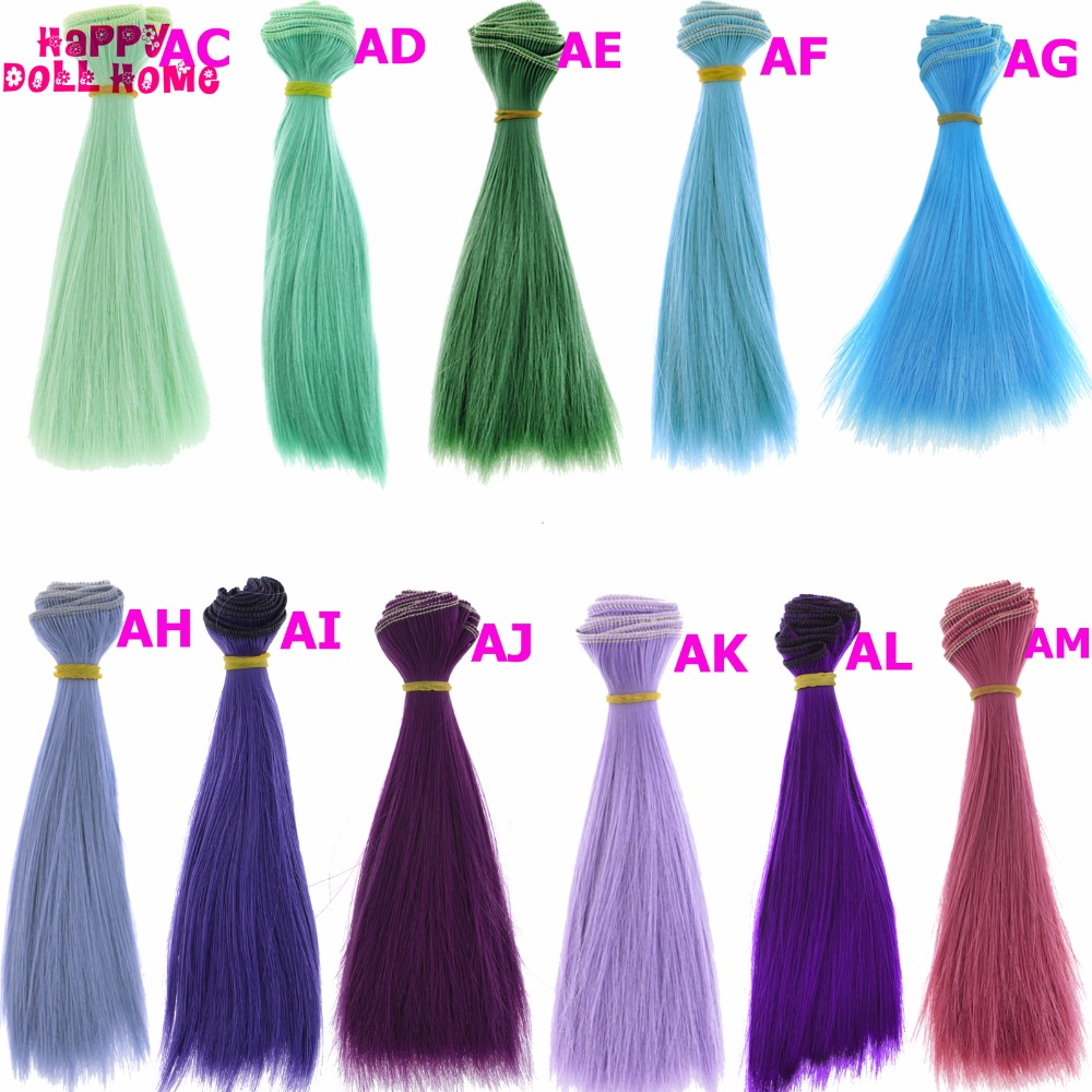 1 x BJD Wigs 15 * 100 cm Green Blue Purple DIY Straight Hair For Barbie Doll For Monster High 1/3 1/4 1/6 Doll Head Accessories handmade bjd doll wigs headgear wigs cap doll accessories diy fixed wig hairnet hair net for for 1 3 1 4 1 6 sd bjd toy for girl