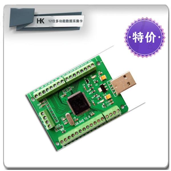 Mini USB Data Acquisition Card -12 Road AD/2 Road DA/8 Road IO/PWM Output and Measurement / Counter